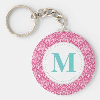 Hot Pink Damask Custom Monogram Basic Round Button Keychain