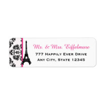 Hot Pink Damask Eiffel Tower Label