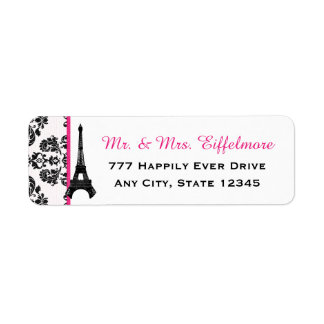Hot Pink Damask Eiffel Tower Label