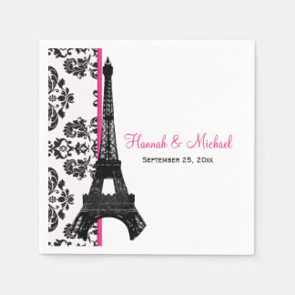 Hot Pink Damask Eiffel Tower Wedding Napkin