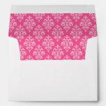 Hot Pink Damask Envelope 5x7