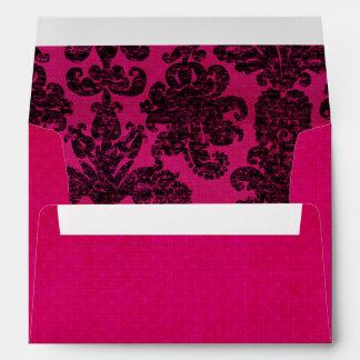 Hot Pink Damask Envelopes