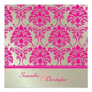 Hot pink damask/faux silver wedding invitation