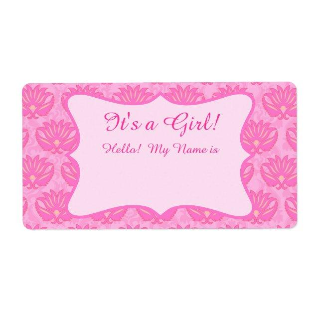 Hot Pink Damask Girl Baby Shower Custom Name Tag | Zazzle.com