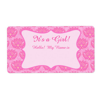 Hot Pink Damask Girl Baby Shower Custom Name Tag Shipping Label