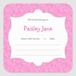 Hot Pink Damask Girl Book baby shower Bookplate Square Sticker
