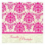 Hot pink damask/ivory damask wedding invitations