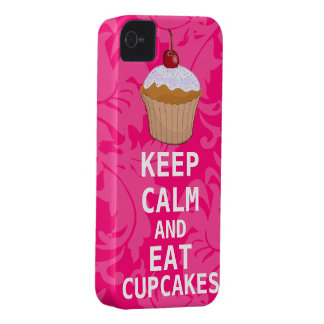 Hot Pink Damask KEEP CALM AND Eat Cupcakes iPhone 4 Covers