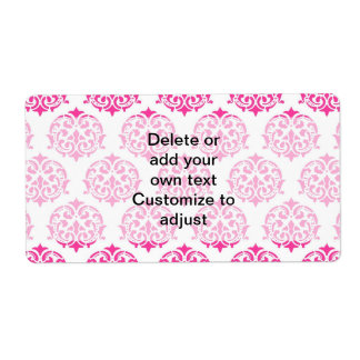 Hot pink damask personalized shipping label