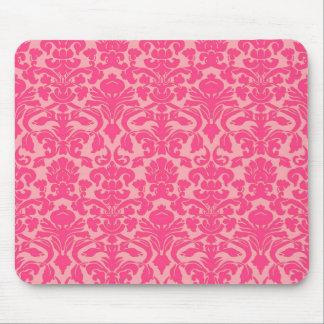 Hot Pink Damask Lace Pattern Mousepad