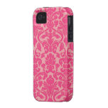 Hot Pink Damask Lace Pattern No.4 iPhone 4/4s Case