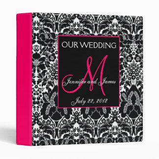 Hot Pink Damask Monogram Wedding Photo Planner Binder