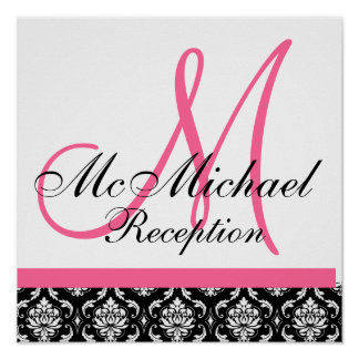 Hot Pink  Damask  Monogram Wedding Reception Print
