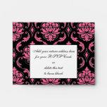 Hot Pink Damask Monogram Wedding RSVP Envelope