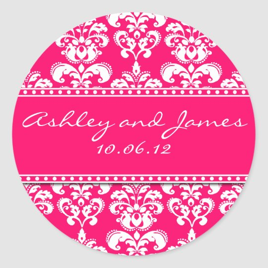 Hot Pink Damask Names and Date Wedding Stickers