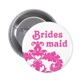 Hot pink damask on white Bridesmaid wedding Pinback Button