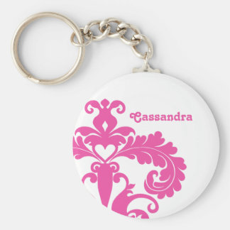 Hot pink damask on white personalized keychain