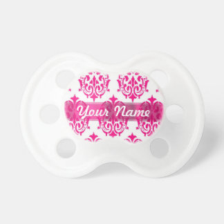 Hot pink damask baby pacifiers