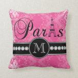 Hot Pink Damask Paris Monogrammmed Throw Pillow