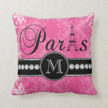 Hot Pink Damask Paris Monogrammmed Throw Pillows