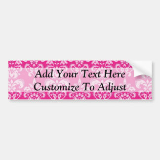 Hot pink damask pattern bumper stickers