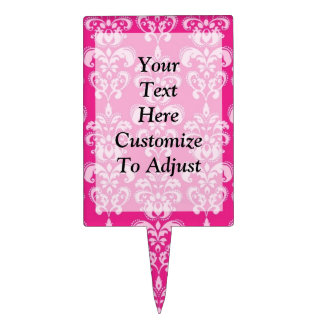 Hot pink damask pattern cake toppers