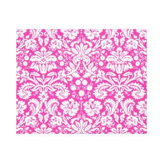 Hot pink damask pattern canvas print
