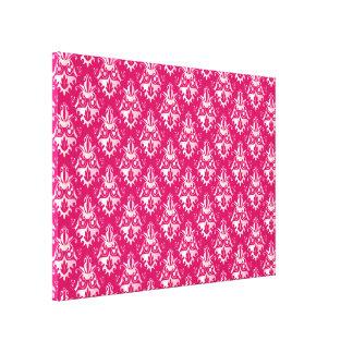 Hot Pink Damask Pattern Gallery Wrap Canvas