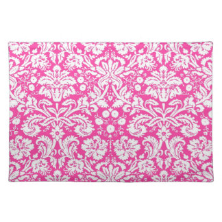 Hot pink damask pattern cloth placemat
