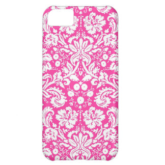 Hot pink damask pattern cover for iPhone 5C