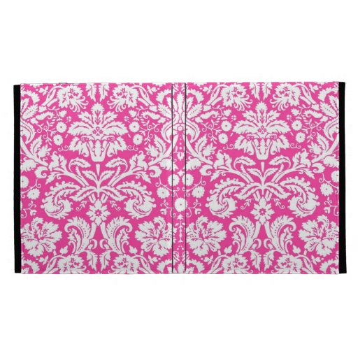Hot pink damask pattern iPad cases