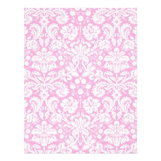 Hot pink damask pattern letterhead