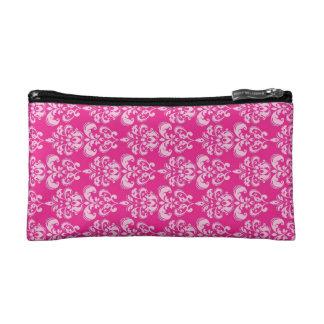 Hot pink damask pattern makeup bag