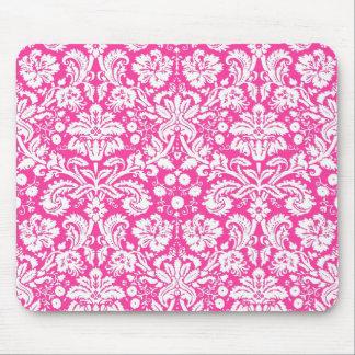 Hot pink damask pattern mouse pad