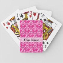 Hot pink damask pattern playing cards
