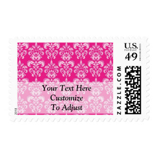 Hot pink damask pattern postage