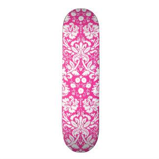 Hot pink damask pattern skateboard decks