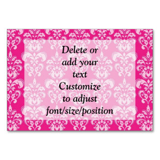 Hot pink damask pattern table cards