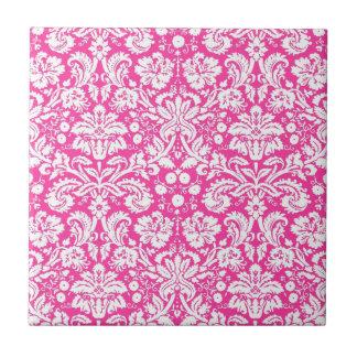 Hot pink damask pattern tile