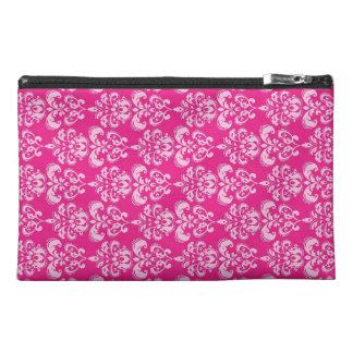 Hot pink damask pattern travel accessory bag