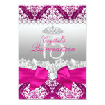 Hot Pink Damask & Pearl Bow Quinceanera Invite