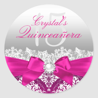 Hot Pink Damask & Pearl Bow Quinceanera Sticker