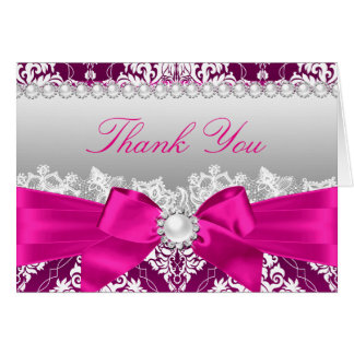 Hot Pink Damask & Pearl Bow Thank You Card