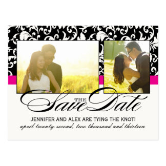 Hot Pink Damask Save the Date Postcard