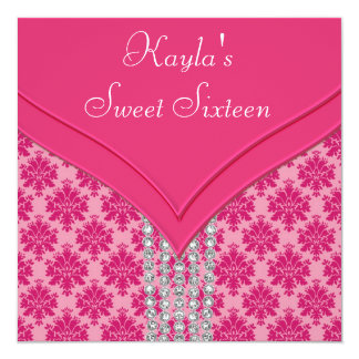 Hot Pink Damask Sweet 16 Party Card