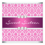 Hot Pink Damask Sweet 16 Party Personalized Invite