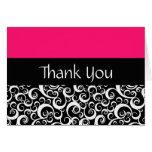 Hot Pink Damask Swirls Thank You Cards