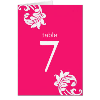Hot Pink Damask Table Seating Cards