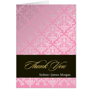 Hot Pink Damask Thank You Cards/customize color.. Card