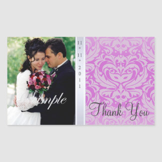 Hot Pink Damask Thank You Photo Wedding Sticker